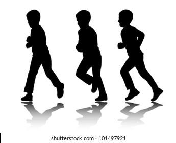 boy running silhouettes