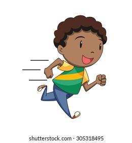 Boy running, vector illustration