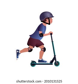 Boy in a Safety helmet on scooter. Isolated Vector illustration for mockup or flat design advertising banner.