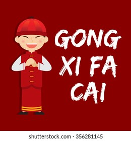 Boy saying Gong Xi Fa Chai Chinese new year, vector illustration