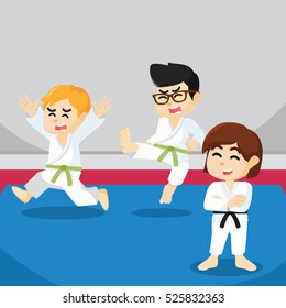 boy scared when doing karate match