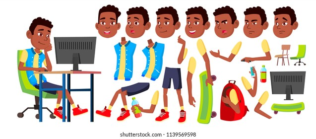 Boy Schoolboy Kid Vector. Black. Afro American. High School Child. Animation Creation Set. Face Emotions, Gestures. Secondary Education. Animated. Isolated Cartoon Illustration