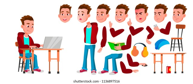 Boy Schoolboy Kid Vector. High School Child. Animation Creation Set. Face Emotions, Gestures. Child Pupil. Subject, Clever, Studying. For Banner, Flyer, Web Design. Animated. Cartoon Illustration