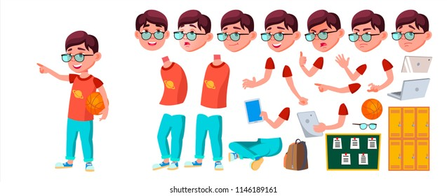 Boy Schoolboy Kid Vector. Primary School Child. Animation Creation Set. Auditorium. Friendship. Pose, Beauty. For Cover, Placard Design. Face Emotions, Gestures. Animated. Isolated Illustration