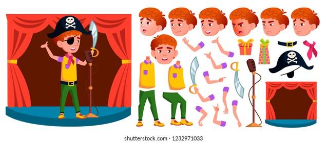 dbf46d9ee4 Boy Schoolboy Kid Vector. Primary School Child. Animation Creation Set.  Student Activity.