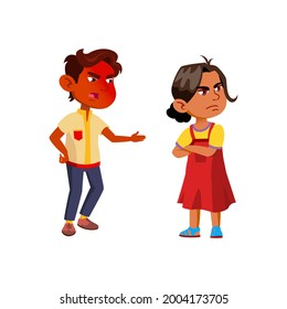 Boy Scolding Injured Girl With Aggression Vector. Sadness Indian Brother And Sister Quarreling With Aggression. Angry Characters Offsprings Conflict Problem Flat Cartoon Illustration