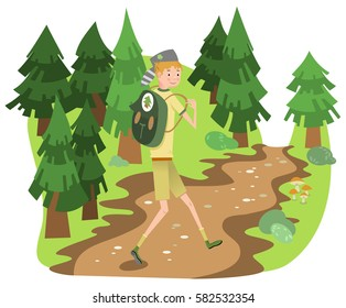 Boy scout with backpack hiking on forest track in a forest of fir trees (Fifties style illustration)