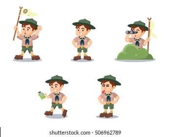 boy scout cartoon set