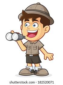 Boy Scout or Explorer Boy with Binoculars