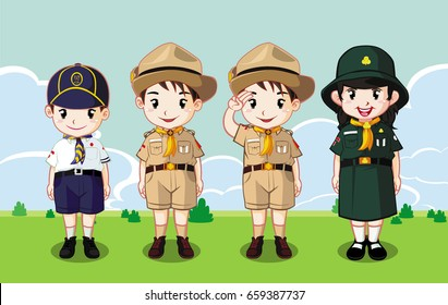 Boy Scout and Girl Guide wear Scout costume asian cartoon characters vector stand on the field background