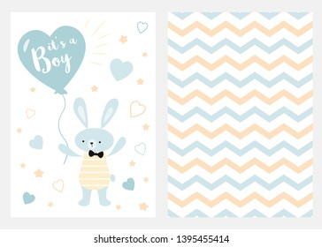Its a boy Set of blue, white and yellow templates for invitations Rabbit balloon Zigzag background vector Collection of invite cards for party baby shower father's day wedding birthday Childish style.