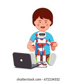 Boy setting up, configuring, programming modern humanoid robot connected to laptop. Kid learning engineering experimenting with technology education project. Flat vector isolated illustration.