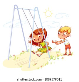 Boy shakes the girl on a swing at the playground. Girl swinging on a swing. Kids zone. Place for games. Funny cartoon character. Vector illustration. Isolated on white background