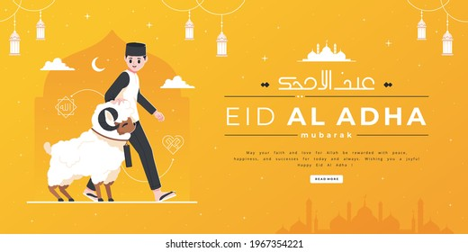 boy with sheep happy eid al-adha banner template