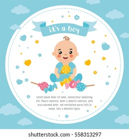 It's a Boy shower card. Invitation template with cute baby with candy. Labels with letters and kids illustration.