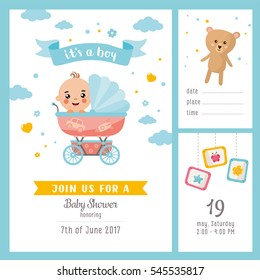 It's a Boy shower set. Invitation template with cute baby in a buggy. Labels with letters and kids illustration.