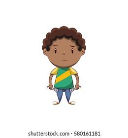Boy showing empty pockets, no money gesture