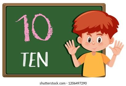Boy showing number habd gesture illustration