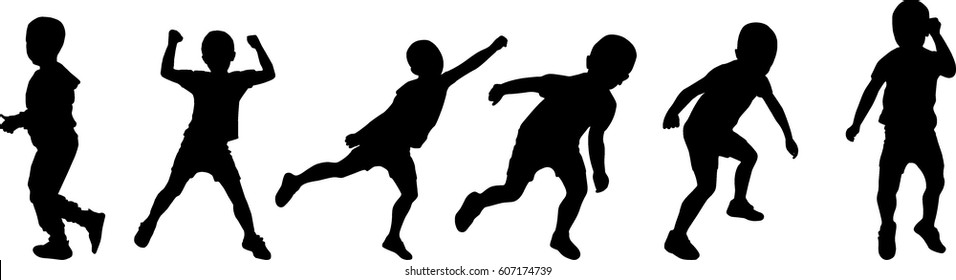 boy silhouette dancing, playing vector illustration