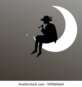 boy silhouette sitting on the moon and playing trumpet, dreamer, shadows, dreams