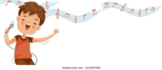 Boy singing. Note on the white background. Billboard or branner design. Gaps fill your data to fill. Concept illustrations for web pages, schools, special classes for children. Vectors