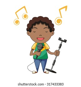 Boy singing, vector illustration