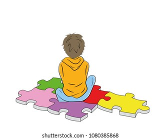 the boy sits on the puzzles symbol of autism. vector illustration.