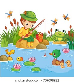 The boy sits on a rock and catches fish in a pond. Vector illustration of a cartoon childlike style with a lake and ducks.