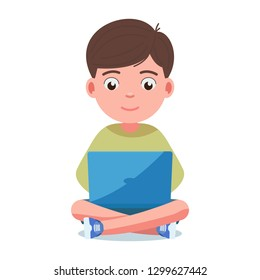 Kid with computer stock vector. Illustration of little