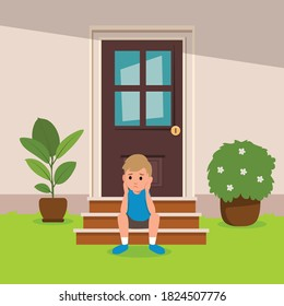boy sitting in front of the house looking bored. Illustration of a Bored Boy with His Chin Resting on His Hands