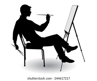 boy sitting at his easel and paints on canvas