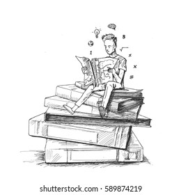 Boy sitting on Stack of books with reading books- Hand Drawn Sketch Vector illustration.