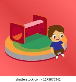 Boy sitting at playground