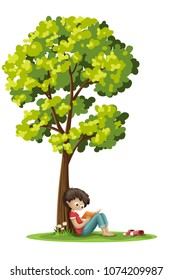 Boy is sitting unter a tree and reading a book. Isolated on white background.