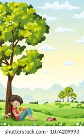 Boy is sitting unter a tree and reading a book