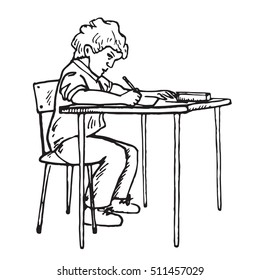 Boy is sitting and writing, school lesson, hand drawn doodle, sketch in pop art style, vector
