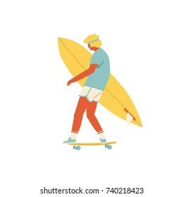 Boy skateboarder ride a skateboard carry surfboard.