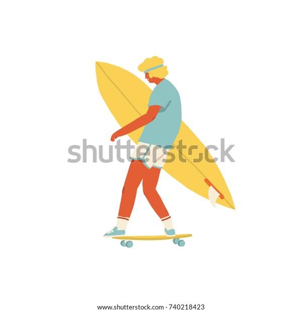 Мальчик скейтбордист ездить на скейтборде нести доску для серфинга.