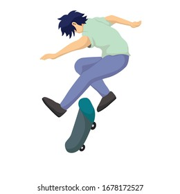 Boy Skateboarding in Park, Vector Illustration of a teenager playing skateboard