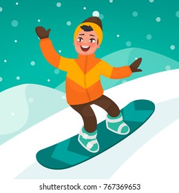 Boy skates on a snowboard slope. Winter extreme sport. Vector illustration in cartoon style