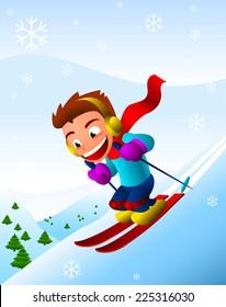 Boy skiing downhill winter snowflake snow holiday. Vector illustration cartoon.
