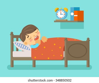 Boy Sleeping In The Bed Bedtime And Room With Young Kid Vector Illustration