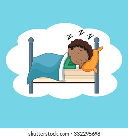 Boy sleeping, bedtime, vector illustration