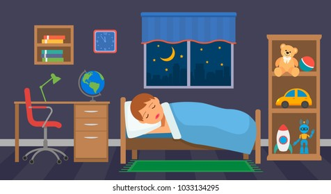 A boy is sleeping in his children's room with toys. vector illustration isolated illustration