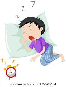 Boy sleeping on pillow illustration
