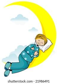 Boy Sleeping - Vector