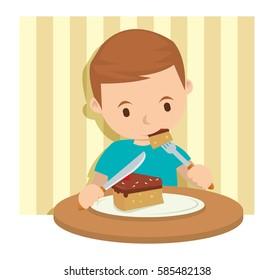 A boy slicing cake for dinner