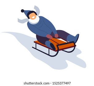 Boy sliding on red sled, sledge down hill. Kid laughing in blue outer wear, beanie hat, mittens and warm scarf. Winter holidays vacation activity. Isolated vector illustration, white background.