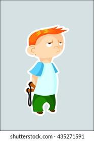 Boy with slingshot - vector illustration