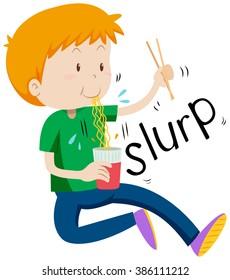 Boy slurping noodles from the cup illustration